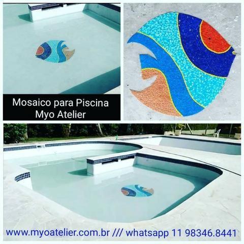 Peixe Mosaico, mosaico artistico, fundo de piscina, piscina, desenho piscina