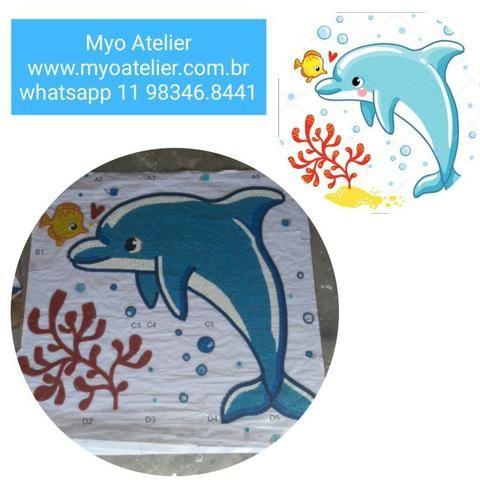 Golfinho mosaico, golfinho para piscina, mosaico artistico, baleia, peixe, piscina - Foto 4