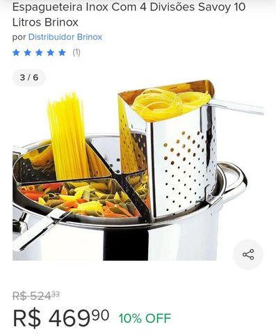 Espagueteira Inox com 4 divisões 10 litros - Foto 3