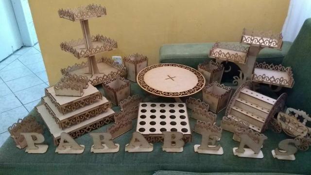 VENDO - NOVO - Kit Provençal arabesco para festa em mdf crú