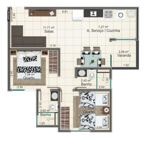 Apartamento Planta Residencial Flamboyant Próximo ao Industrial - Foto 17