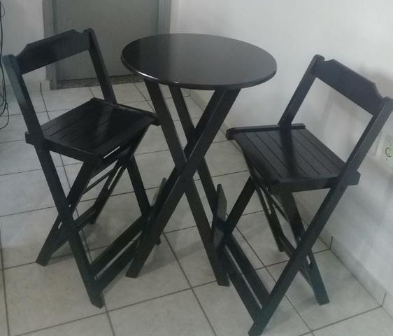 Mesa e cadeira dobrável 68x68, 1,20x68, redonda e bistrô cor tabaco - Foto 4