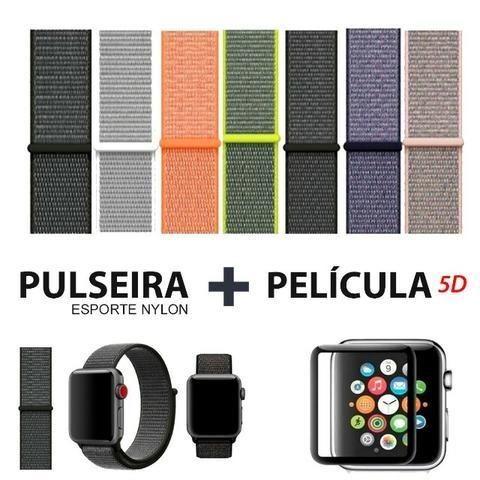 Pulseira Esporte Nylon Apple Watch 38/42mm + Pelicula 5d
