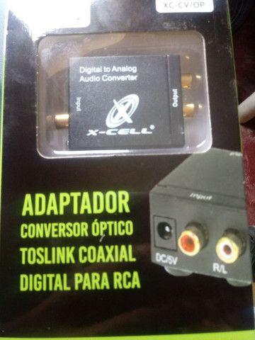 Adaptador conversor Óptico toslink coaxial para rca