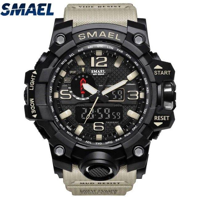 Relógio militar SMAEL (50M) Original - Cáqui