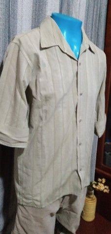 Camisa masculina, manga 3/4, em tecido leve - M - Foto 2