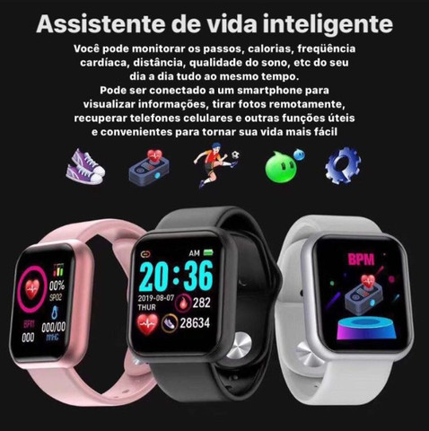 SmartWatch Preto D20 Android / iOS - Foto 4