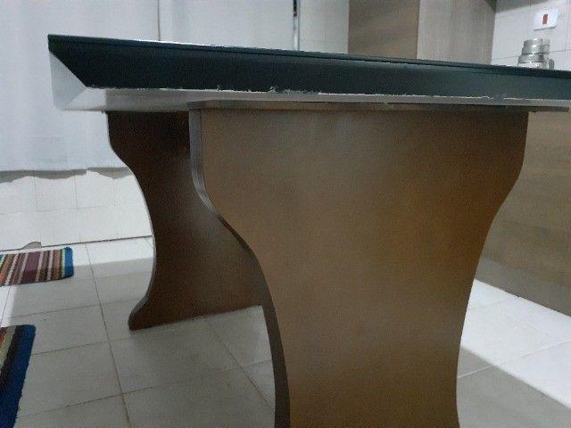 mesa 6 lugares tampo de madeira e vidro