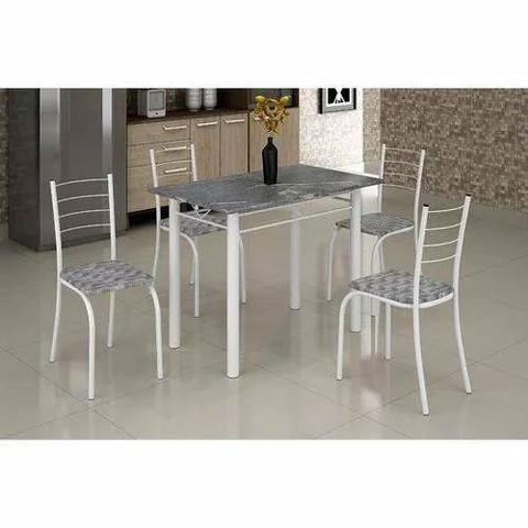 Conjunto de mesa rio com 4 cadeiras e tampo de mármore K728
