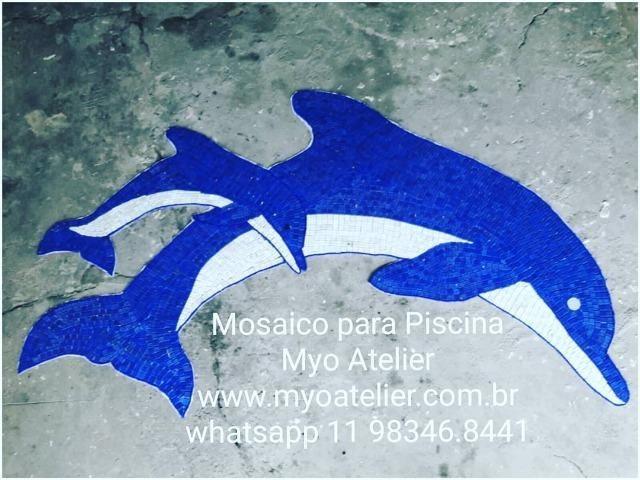 Golfinho mosaico, golfinho para piscina, mosaico artistico, baleia, peixe, piscina