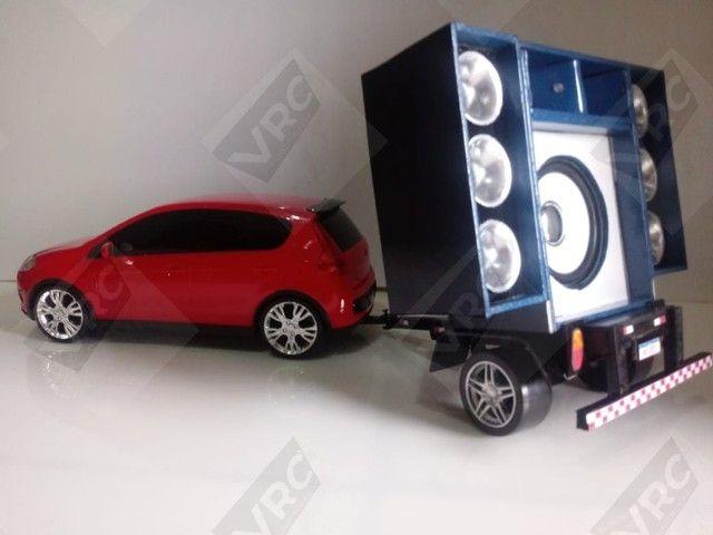 Miniatura Fiat Pálio com mini paredão na carrocinha - Foto 4