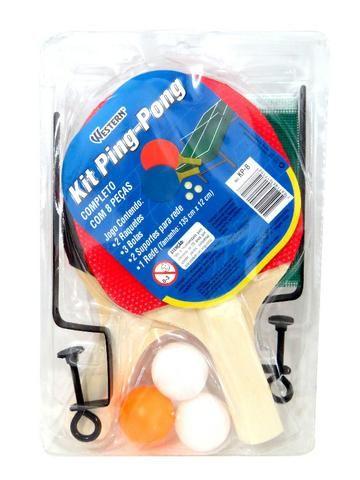 27586ae72 Kit Conjunto Ping Pong Tênis De Mesa Raquetes Bolinhas Rede ...