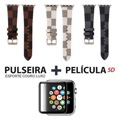 Pulseira Apple Watch Couro Luxo 38/42mm Series + Pelicula 5d