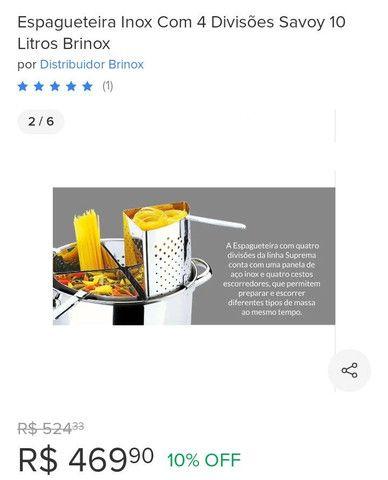 Espagueteira Inox com 4 divisões 10 litros - Foto 2