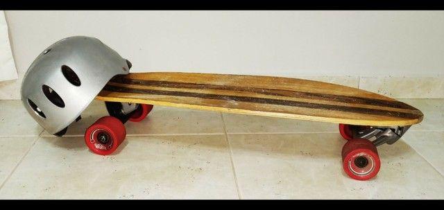 Skate longboard mais capacete e proteções ( Com simulador de surf) - Foto 3