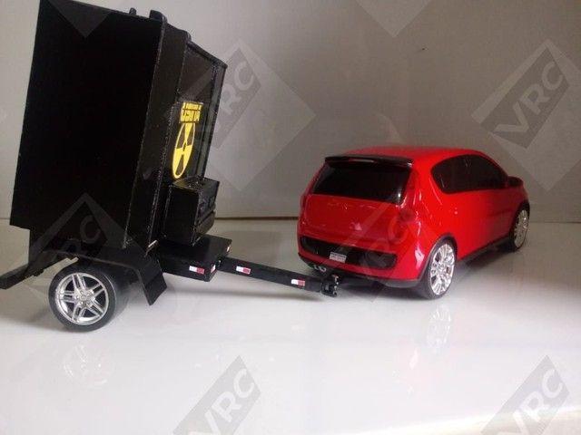 Miniatura Fiat Pálio com mini paredão na carrocinha - Foto 3