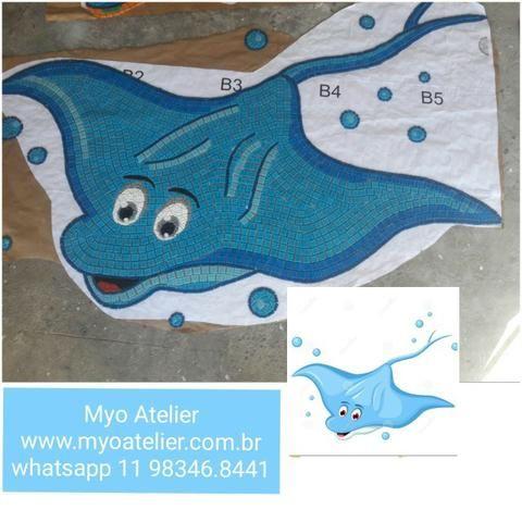 Golfinho mosaico, golfinho para piscina, mosaico artistico, baleia, peixe, piscina - Foto 3