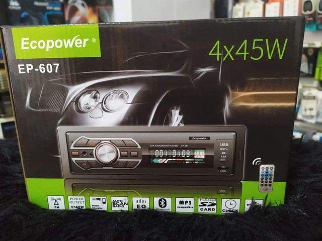 Toca Rádio Ecopower Ep-607 Bluetooth / Cartão Sd / Usb - Preto<br>
