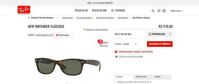 Oculos Ray Ban New Wayfarer RB 2132 Polarizado - Bijouterias ... e250969865