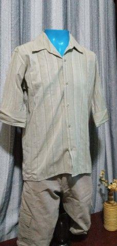 Camisa masculina, manga 3/4, em tecido leve - M - Foto 4