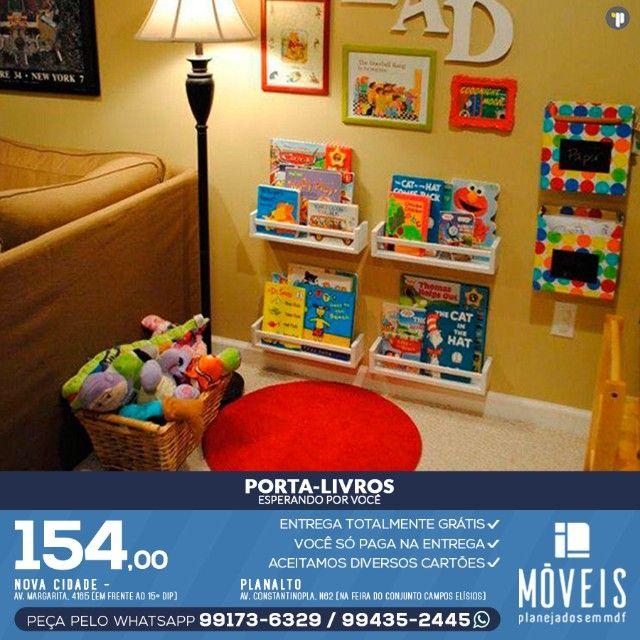 Prateleira porta-livros e brinquedos infantil 100% MDF - Foto 6