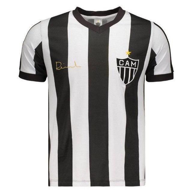 Camisa Oficial Atlético Mineiro Reinaldo Infantil (Branco/Preto: Tam. 8-10) em Uberaba, MG - Foto 3