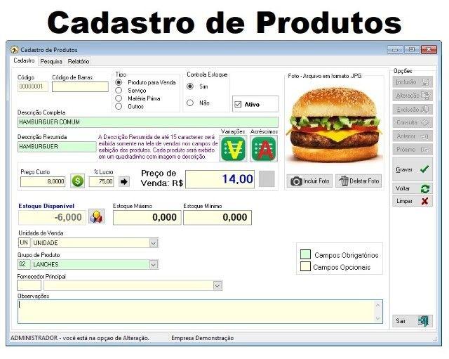 Sistema de Gestão/Caixa/Estoque/Financeiro para Lanchonetes, Cantinas, Pizzarias e afins - Foto 5