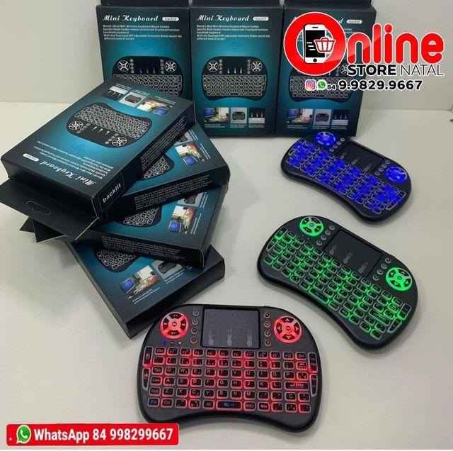 Mini teclado com sensor mouse e led sem fio para TV Box e smart TV