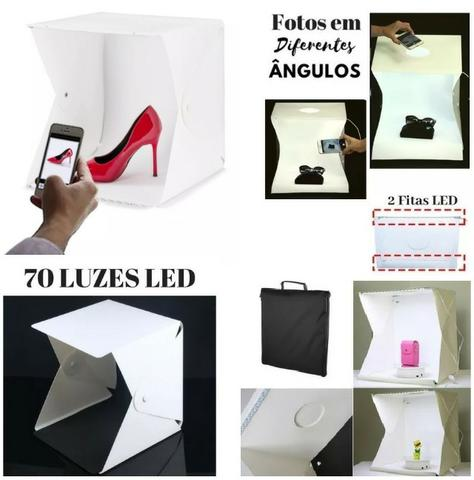Mini Estúdio Fotográfico Portátil C/ Iluminação Led, 2 Fundos, Cabo USB e Case - Tam 40cm