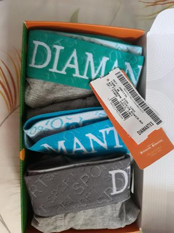 Kit Com 3 Cuecas Boxer Diamantes Lingerie