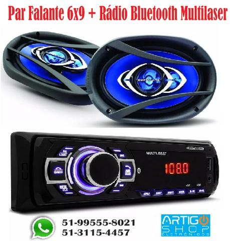 Kit Par Falante 6x9 Hurricane + Radio Bluetooth Multilaser