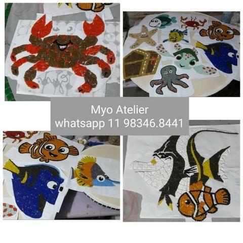 Golfinho mosaico, golfinho para piscina, mosaico artistico, baleia, peixe, piscina - Foto 2