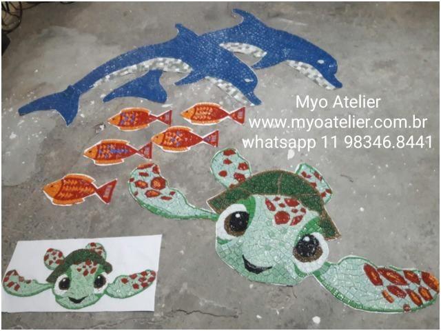 Peixe Mosaico, mosaico artistico, fundo de piscina, piscina, desenho piscina - Foto 2