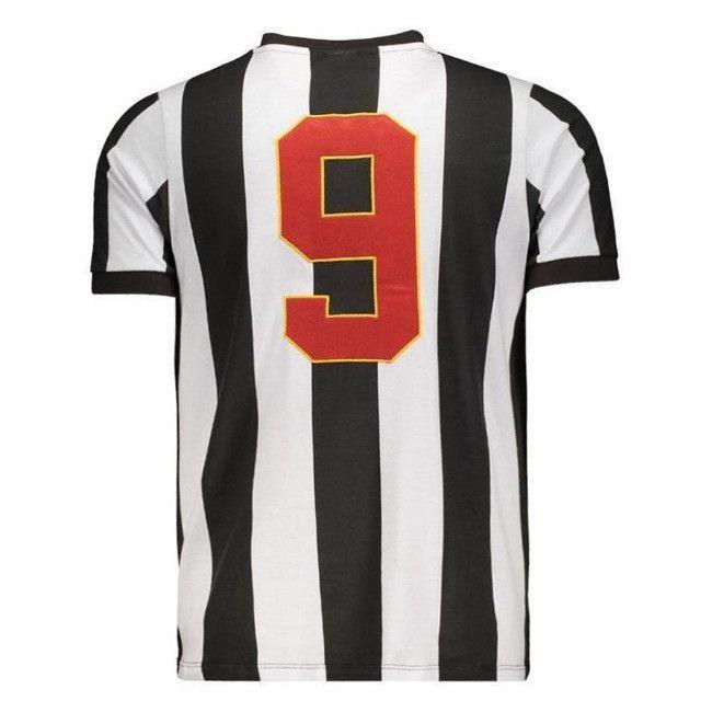 Camisa Oficial Atlético Mineiro Reinaldo Infantil (Branco/Preto: Tam. 8-10) em Uberaba, MG - Foto 4
