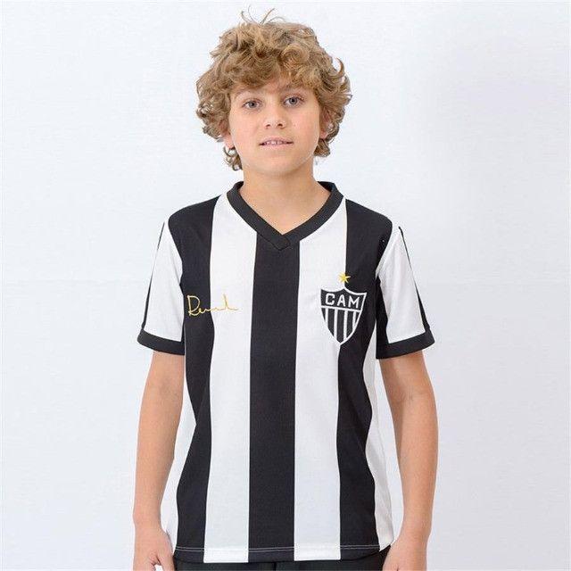 Camisa Oficial Atlético Mineiro Reinaldo Infantil (Branco/Preto: Tam. 8-10) em Uberaba, MG