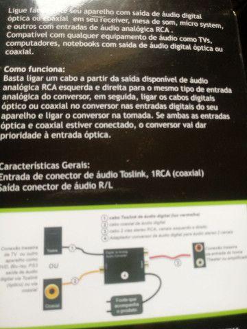 Adaptador conversor Óptico toslink coaxial para rca - Foto 2