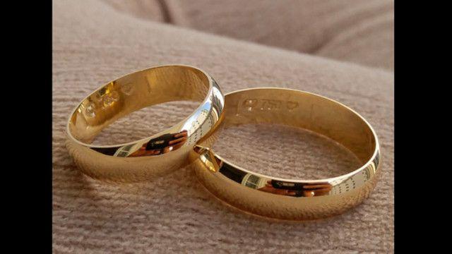 Alianca casamento de ouro 750