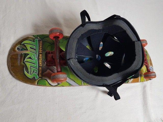 Skate das tartarugas ninja e Capacete Juvenil - Foto 6