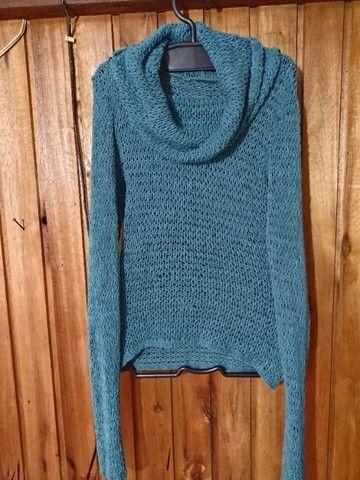 736 - Blusa de lã verde feminina - Tam M