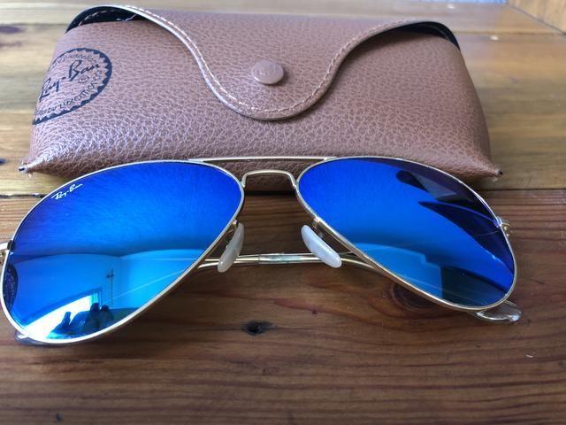 b755fc22aab1f Ray-Ban aviador - ORIGINAL - espelhado azul - Bijouterias, relógios ...