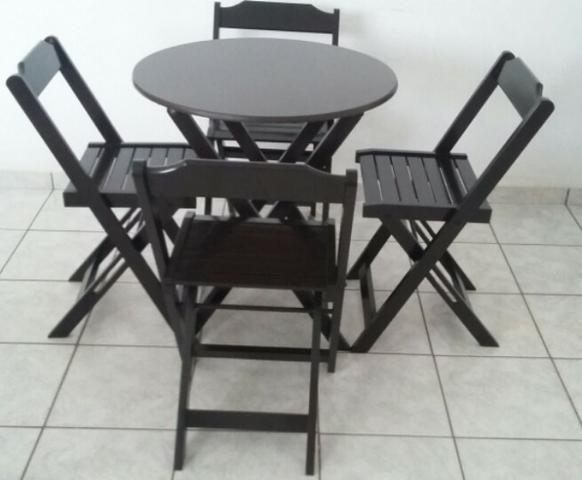 Mesa e cadeira dobrável 68x68, 1,20x68, redonda e bistrô cor tabaco - Foto 3