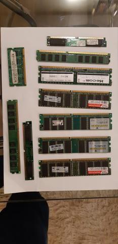 Lote de 10 memórias 1 DDR 1gb, 2 DDR 512