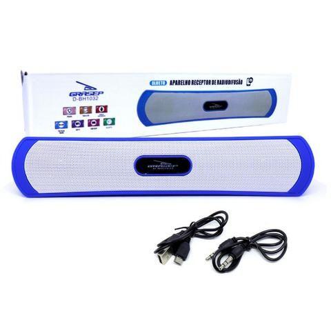 Caixa de Som Amplificada Portátil Bluetooth D-BH1032 Grasep Rádio Fm Pen Drive Mp3