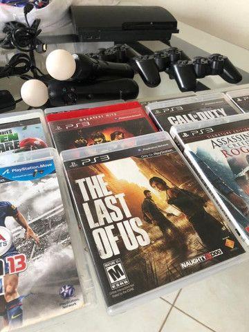 Playstation 3 com move e 12 jogos originais - Foto 5