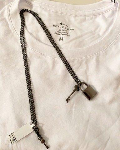 Colar masculino em aço banhado em ródio negro