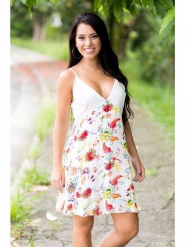 Vestido floral com decote em V