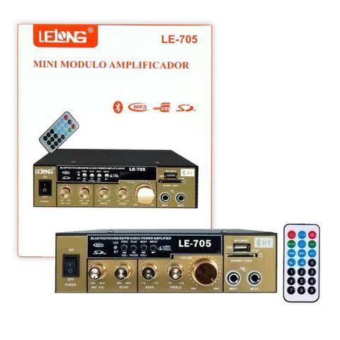 Mini Amplificador de Som Bluetooth Karaoke Le-705 Lelong 110v Usb Cartão Mp3 Fm 2 Canais - Foto 5