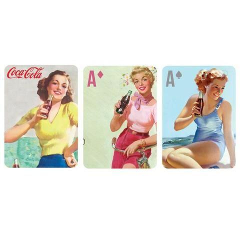 Jogo de Baralho Plástico Coca-Cola, Mousepads, almofadas, canecas