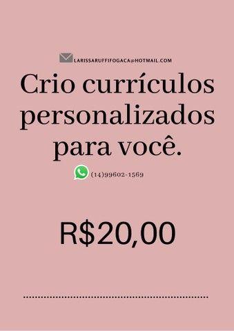 Currículos personalizados por apenas 20 reais