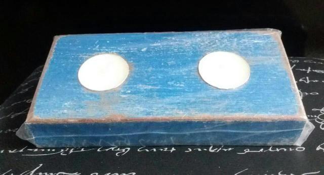 Porta vela de madeira com patina